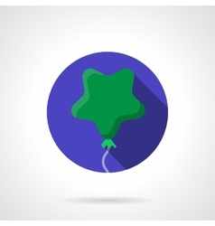 Green star shaped balloon flat round icon vector