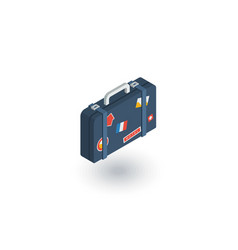 luggage suitcase travel bag whith stickers vector image