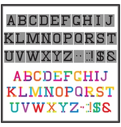 alphabet in the abstract and retro style vector image