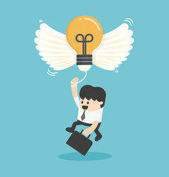 businessman flying with new idea vector image