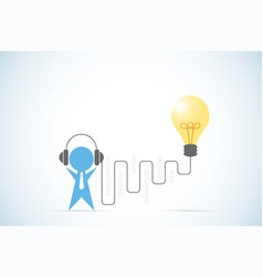 businessman with headphone and lightbulb idea vector image vector image