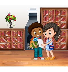 Children working in the library vector image vector image