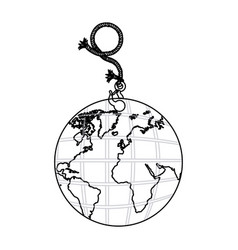 contour planet earth hanging rope icon vector image