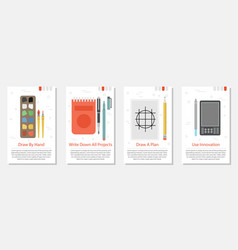 Four banner for designer tools vector