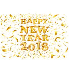 metallic gold letter balloon 2018 happy new year vector image vector image
