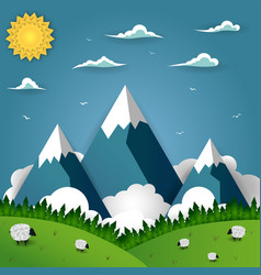 mountain landscape with sheep on field vector image