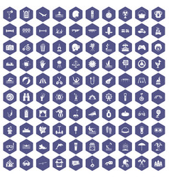 100 summer vacation icons hexagon purple vector