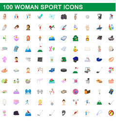 100 woman sport icons set cartoon style vector image