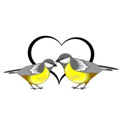 A couple of birds titmice with a heart vector