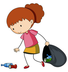 A doodle girl cleaning trash cartoon character vector