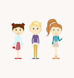 a group cute cartoon kids girls and boy vector image