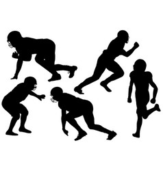 american youth football players silhouettes vector image