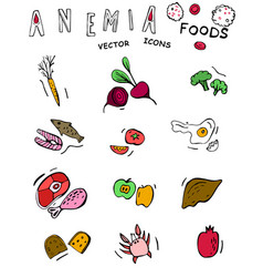 Anemia food doodles vector