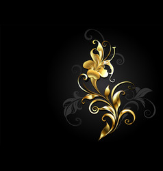 antique golden flower vector image
