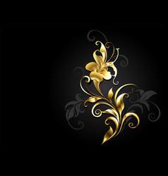 Antique golden flower vector
