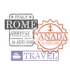 Arrival ship travel stamps of rome and canada in vector