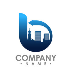 b initial letter realty logo design lettering vector image