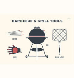 barbecue and grill tools vector image