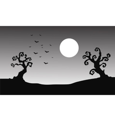 Bat and full moon halloween silhouette vector image