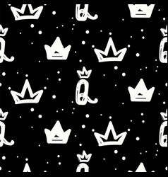 Black and white queen crown seamless pattern with vector