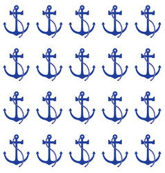 blue anchor nautical pattern vector image