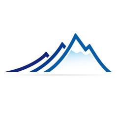 Blue mountain ridge icon in flat style vector