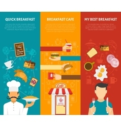 Breakfast Vertical Banners Set vector image