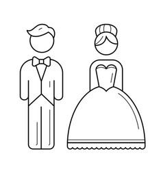 bride and groom line icon vector image