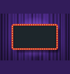 bulb frame with empty space on purple theater vector image