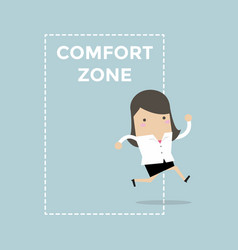 Businesswoman jumping out comfort zone vector