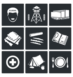 Camp for displaced persons Icons Set vector