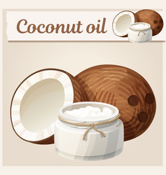 Coconut oil in bottle vector