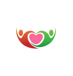 Creative abstract couple and heart inside logo vector