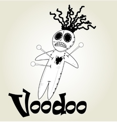 Cute black and white Voodoo doll vector image
