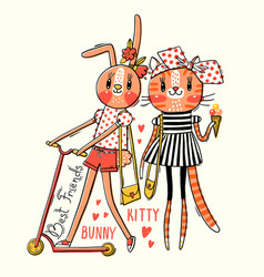 cute card with best friends bakitten and bunny vector image