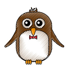 Cute penguin with bowtie kawaii character vector