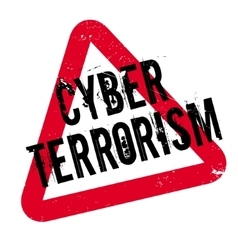 Cyber terrorism rubber stamp vector
