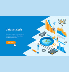 data analysis banner 02 vector image