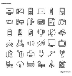 device and technology outline icons perfect pixel vector image