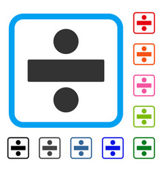 Divide math operation framed icon vector