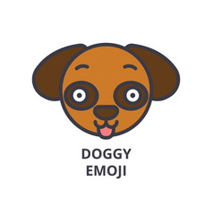doggy emoji line icon sign vector image