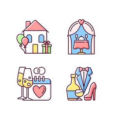 Family celebration rgb color icons set vector