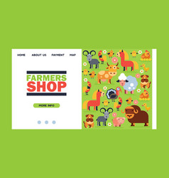 Farm animals landing we page domestic vector
