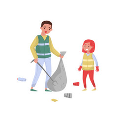 Father and his dughter gathering garbage and vector