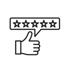 Five star rating linear icon vector