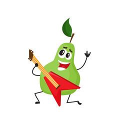 Flat pear fruit character rockstar guitar vector