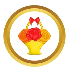 Flowers in basket icon vector image