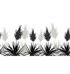 Flowers Yucca silhouette horizontal seamless vector image
