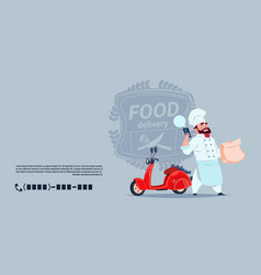 food delivery emblem concept chef cook standing at vector image