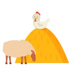 Fowl and sheep farm animal countryside vector
